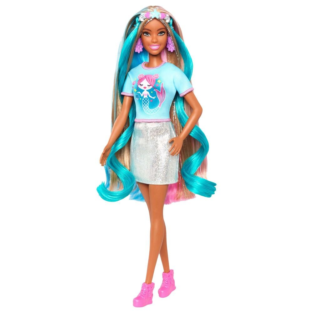 Mattel Barbie Fantasy Hair Doll with Mermaid and Unicorn Looks, , large