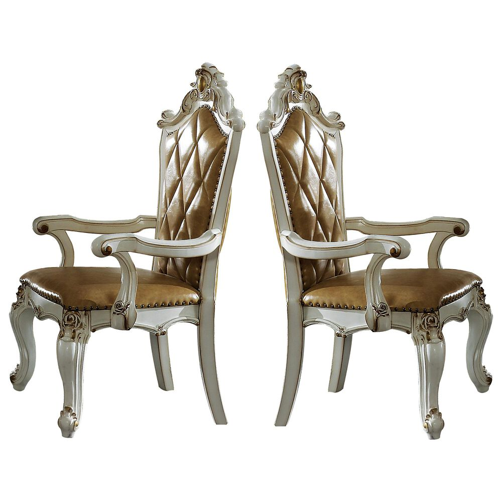 Gunnison Co. Picardy Arm Chair in PU and Antique Pearl (Set of 2), , large