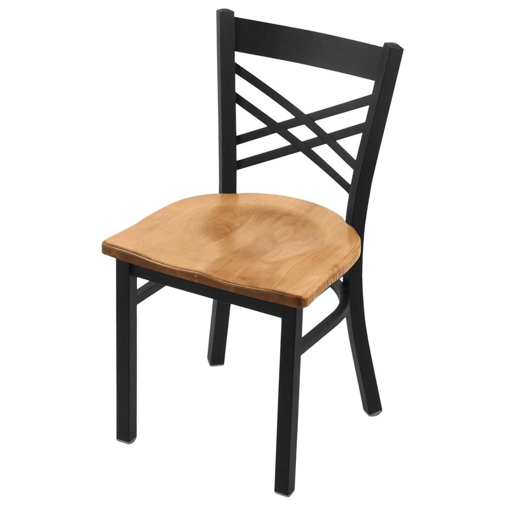 """Holland Bar Stool 620 Catalina 18"""" Chair with Black Wrinkle and Medium Maple Seat, , large"""