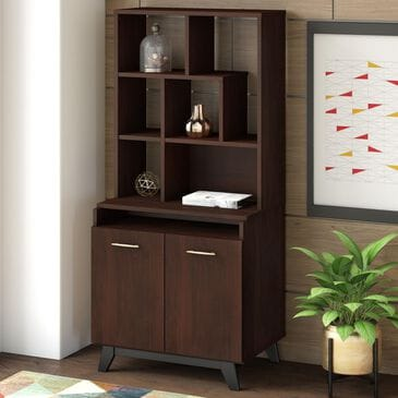 Bush Centura 2-Door Accent Storage Cabinet with Bookcase Hutch in Century Walnut, , large