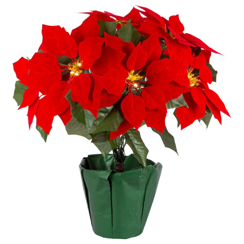 """The Gerson Company 17.25"""" Poinsettia with 9 Lit Flowers in Red, , large"""