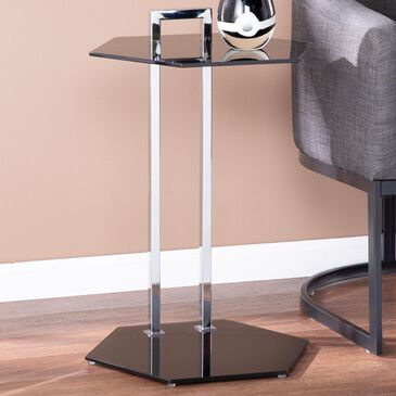 Southern Enterprises Corxon Side Table in Black and Chrome, , large