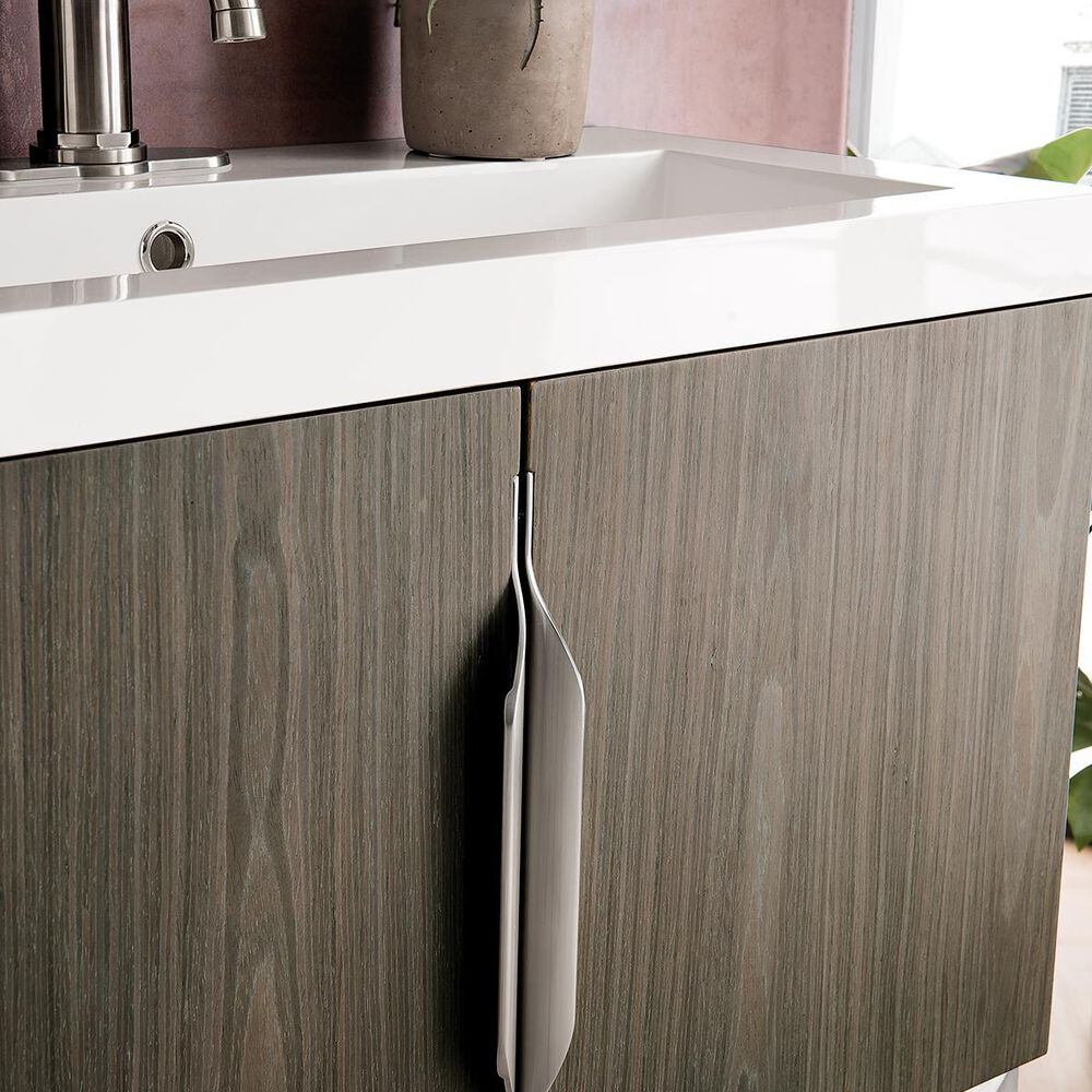 """James Martin 31.5"""" Single Vanity Cabinet in Ash Gray, Brushed Nickel with White Glossy Solid Surface Top, , large"""