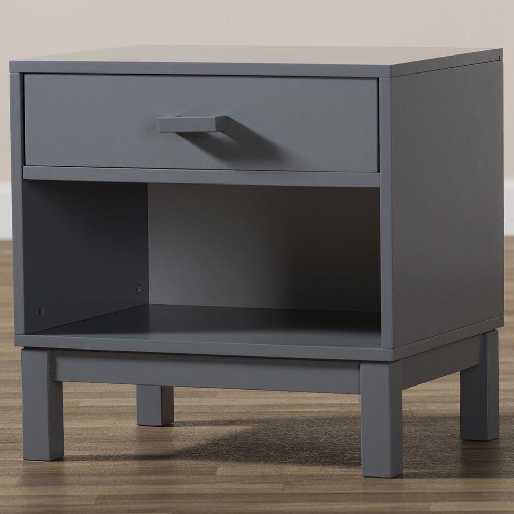 Baxton Studio Deirdre 1 Drawer Nightstand in Grey, , large
