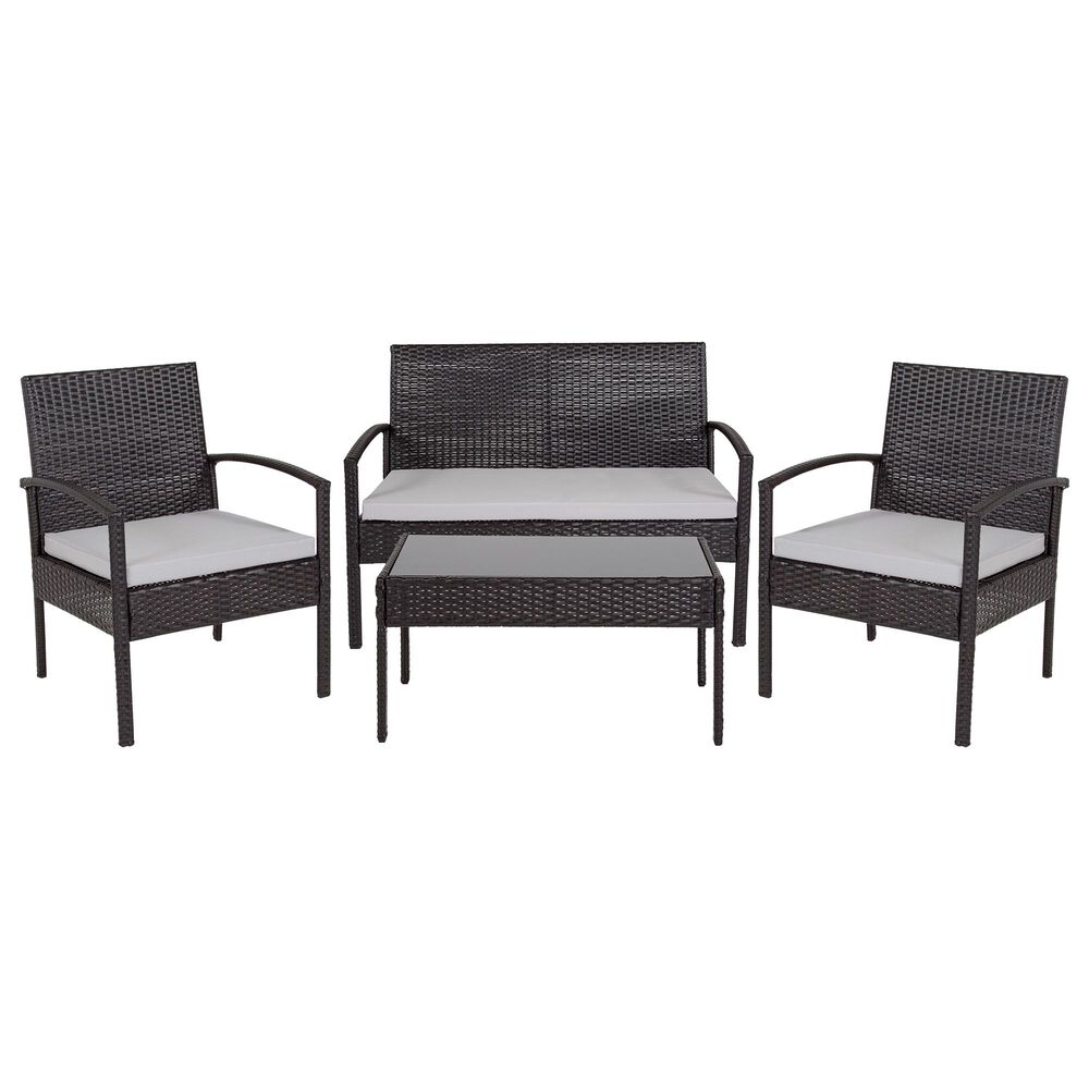 Flash Furniture Aransas 4-Piece Patio Set in Black, , large