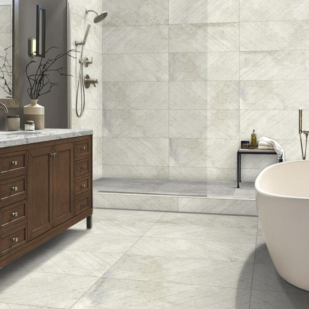 Emser Borigni White 18 X 35 Left Diagonal Porcelain Tile Nebraska Furniture Mart