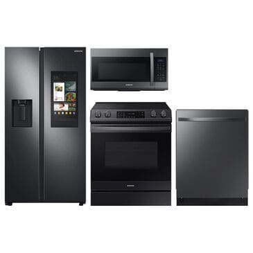 Samsung 4-Piece Kitchen Package with 26.7 Cu. Ft. Side-by-Side Refrigerator and Electric Range in Black Stainless Steel, , large