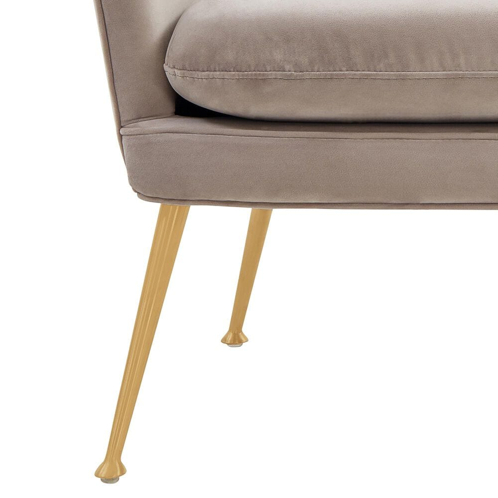 Safavieh Aimee Arm Chair in Pale Taupe Velvet and Gold, , large