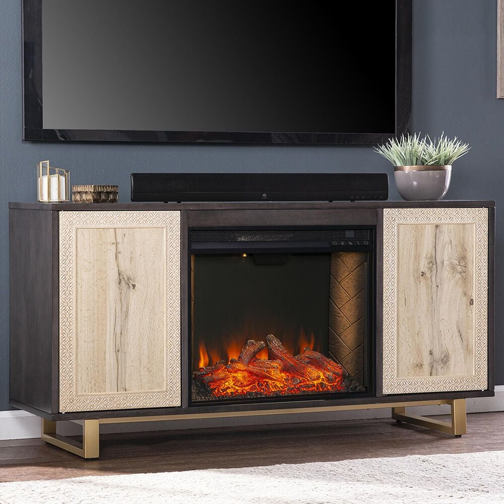 Southern Enterprises Wilconia Alexa Smart Media Fireplace in Dark Brown/Natural/Gold, , large