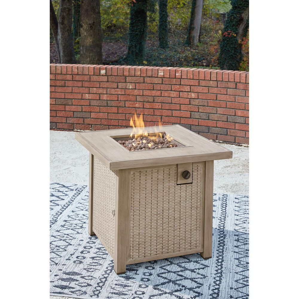 Signature Design by Ashley Lyle Square Fire Pit Table in Driftwood, , large