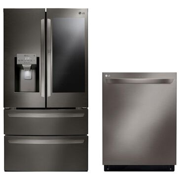 LG 2-Piece Kitchen Package 28 Cu. Ft. French Door Refrigerator and Top Control Dishwasher - Black Stainless Steel, , large