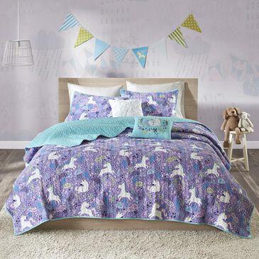 Goldstar Bedding Lola 5-Piece Full/Queen Coverlet Set in Purple, , large
