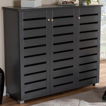 Baxton Studio Adalwin 3-Door Entryway Shoe Storage Cabinet in Dark Gray, , large