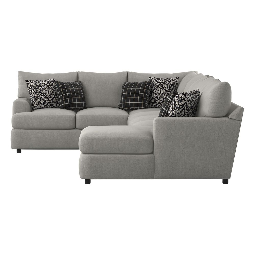 Klaussner Oliver 3-Piece Right Facing Sectional in Less Greystone, , large