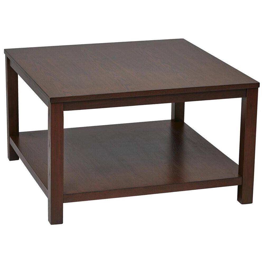 OSP Home Merge Square Coffee Table in Mahogany, , large