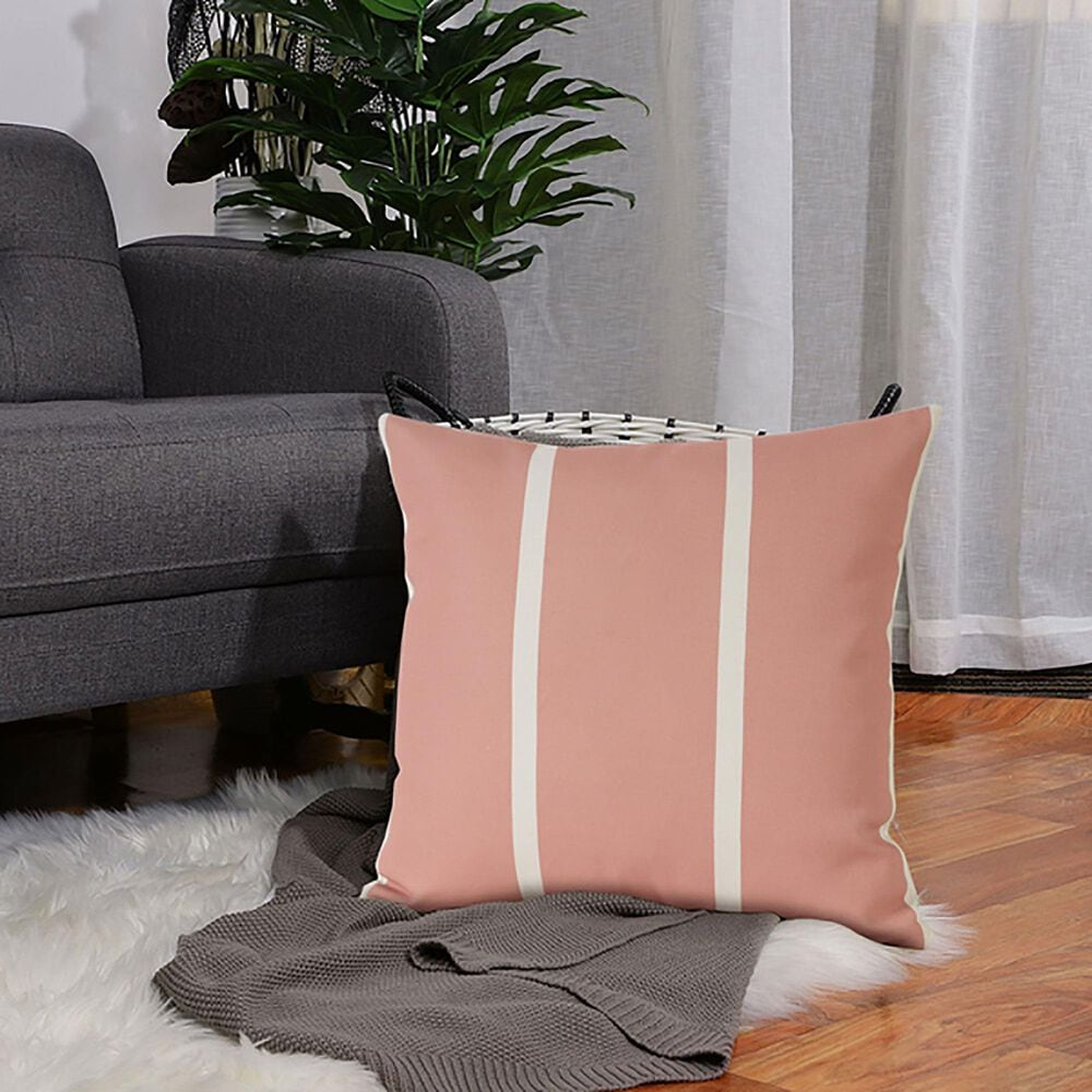 """L.R. RESOURCES 20"""" x 20"""" Stripe Outdoor Pillow in Pink and White, , large"""