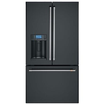 Cafe 27.8 Cu. Ft. French Door Refrigerator Energy Star with Hot Water Dispenser in Matte Black and Brushed Stainless, , large