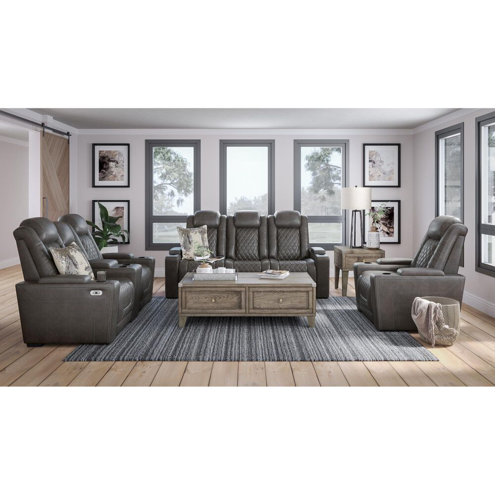 Signature Design by Ashley HyllMont Power Recliner Console Loveseat with Power Headrest in Gray, , large