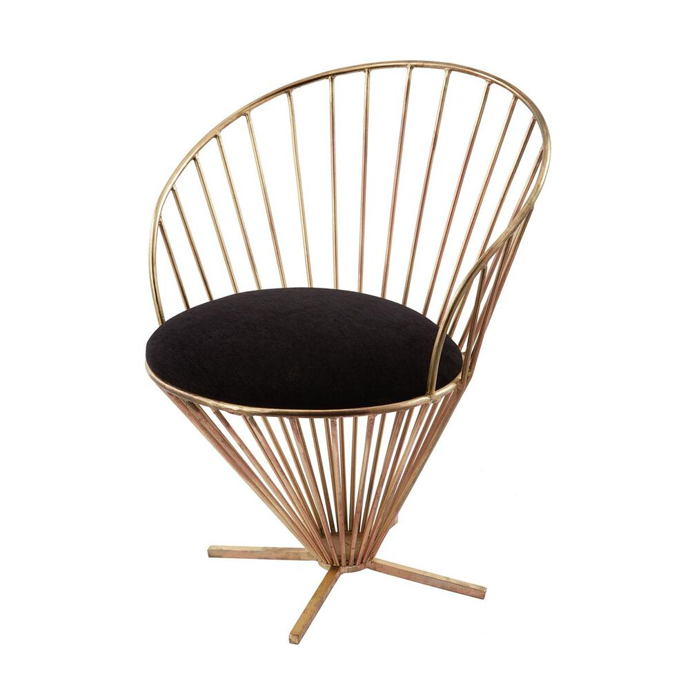 Elk Lighting Iron Taper Wire Chair in Gold and Black, , large