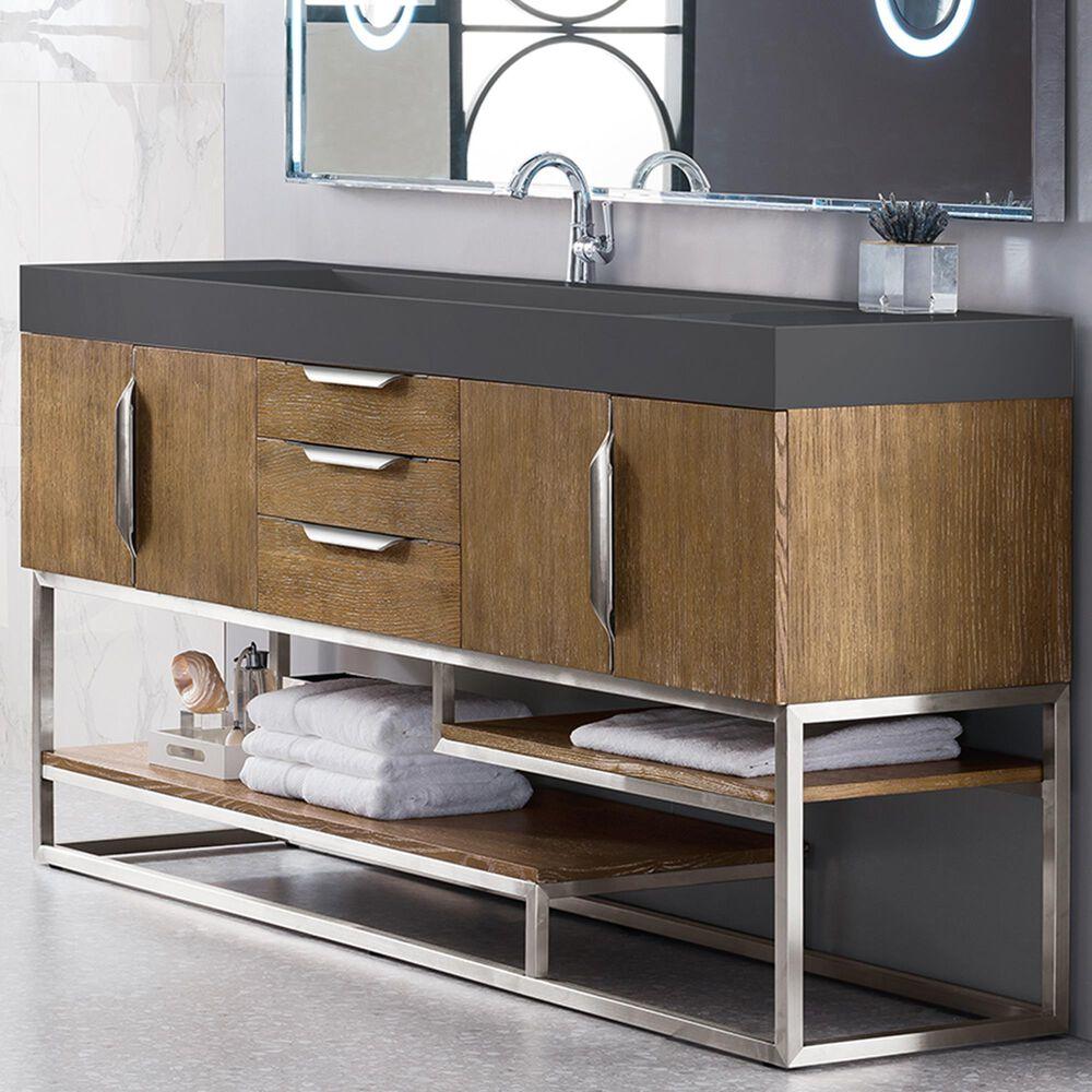 James Martin Columbia 72 Single Bathroom Vanity Cabinet In Latte Oak And Brushed Nickel Nebraska Furniture Mart