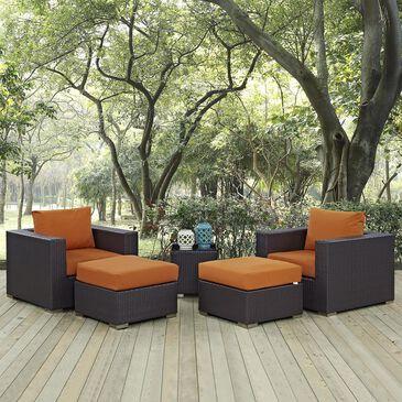 Modway Convene 5-Piece Outdoor Conversation Set in Espresso and Orange, , large