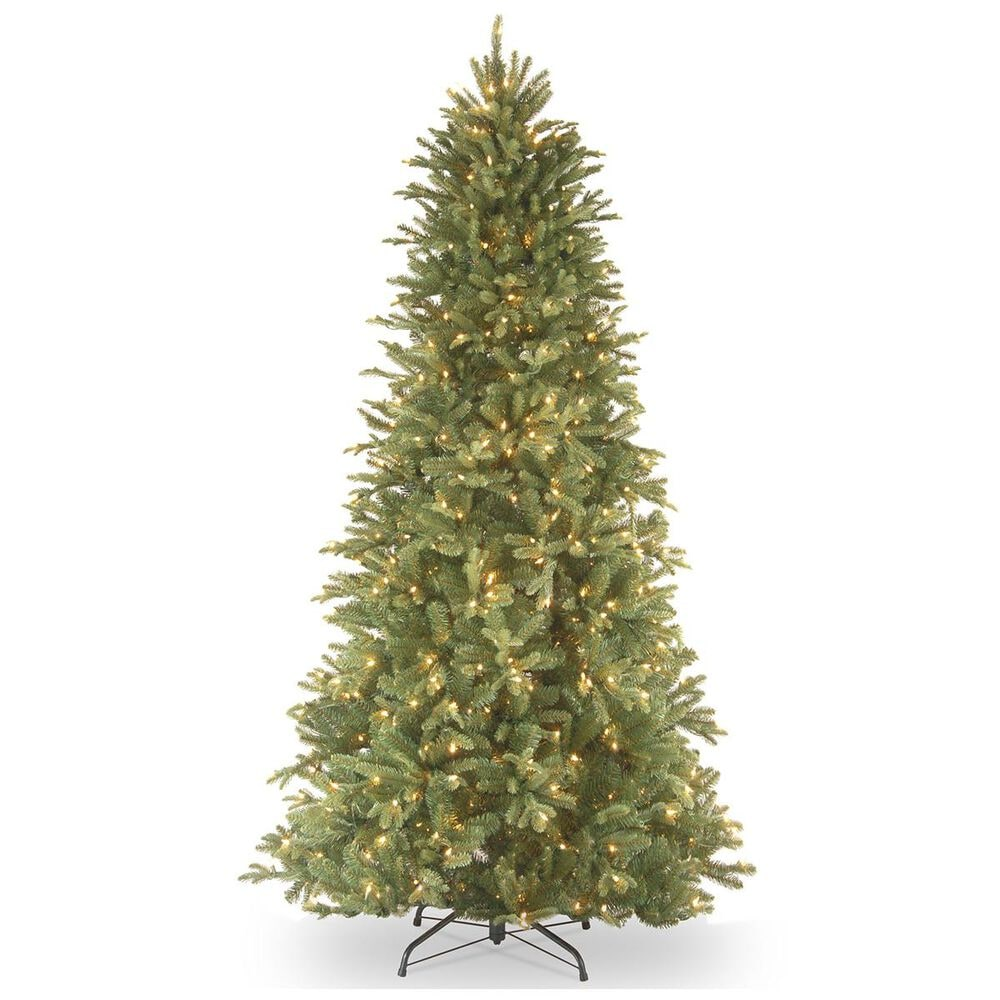 """National Tree 7"""" Feel Real Tiffany Fir Slim Hinged Tree with 550 White Lights, , large"""