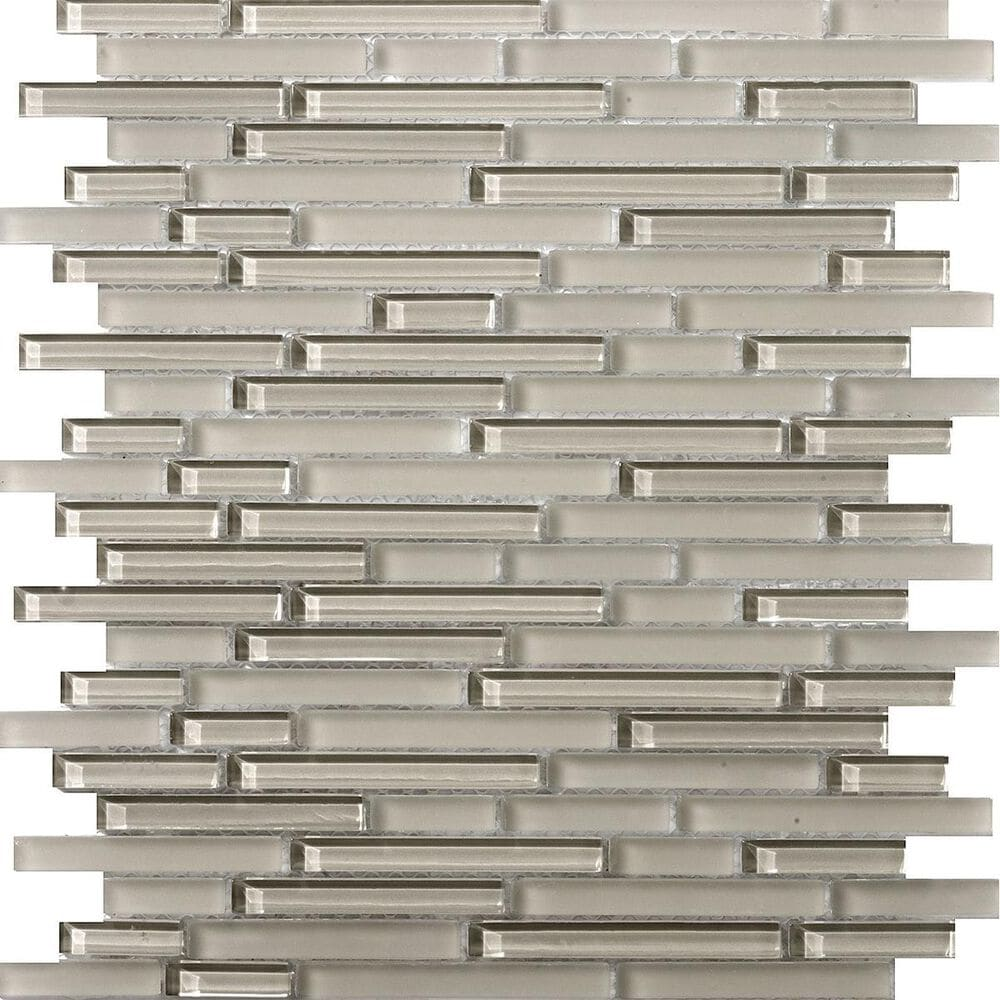 "Emser Lucente Morning Fog Linear 12"" x 12"" Glass Mosaic Sheet, , large"