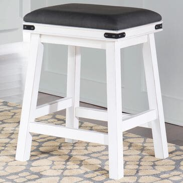 Parkerville Furniture Line Milligan Counter Stool with Grey Seat in White, , large