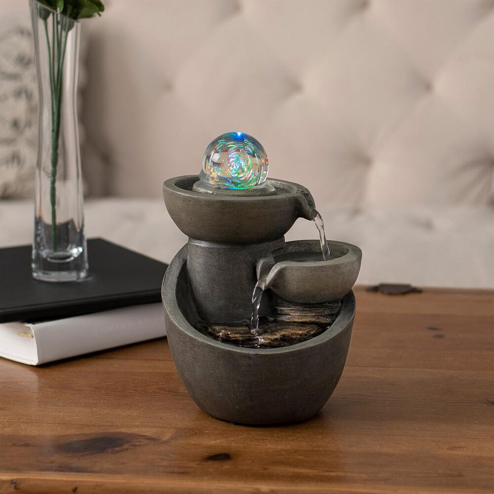 Timberlake Pure Garden 3 Tier LED Glass Ball Fountain in Gray, , large