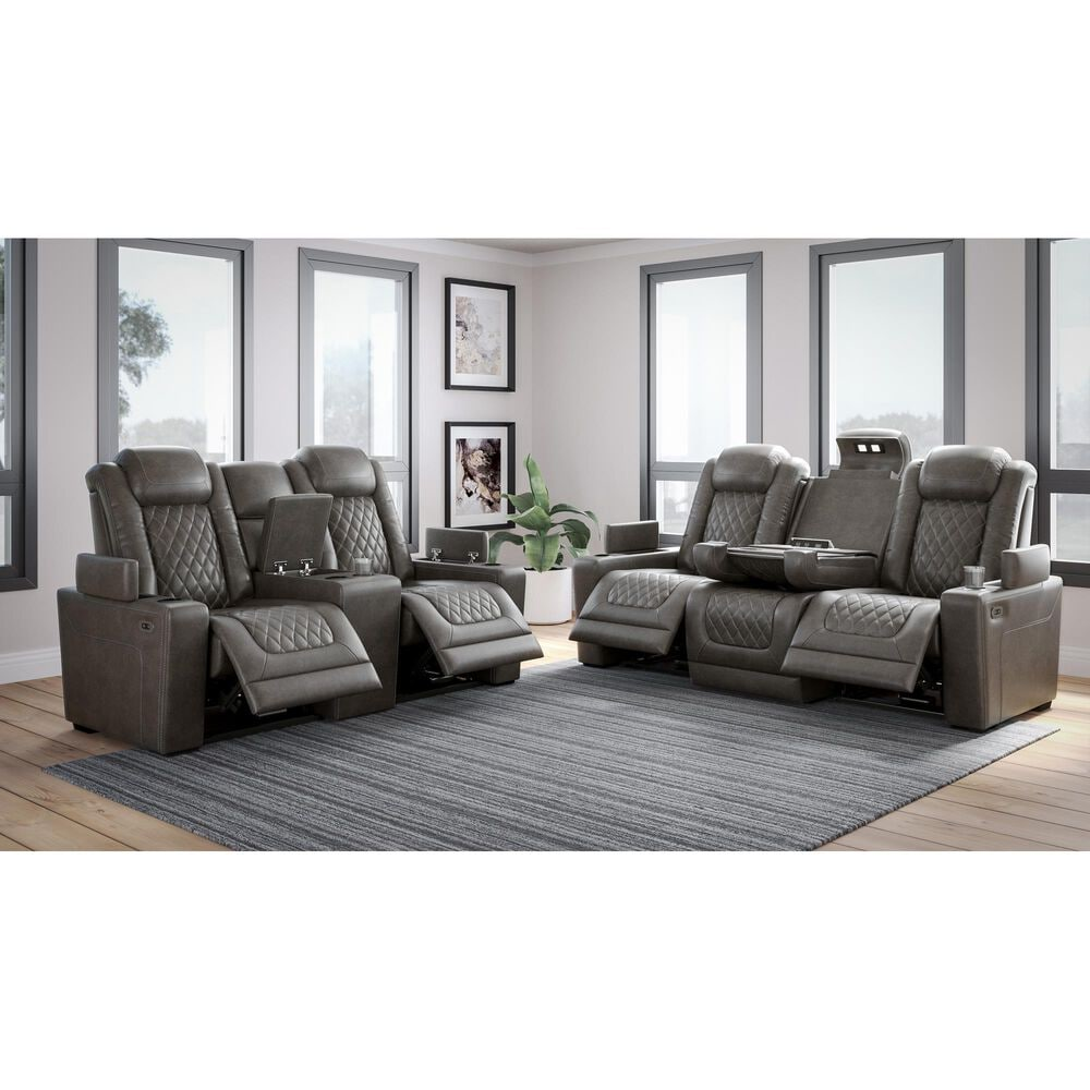 Signature Design by Ashley HyllMont Power Recliner Sofa with Power Headrest in Gray, , large