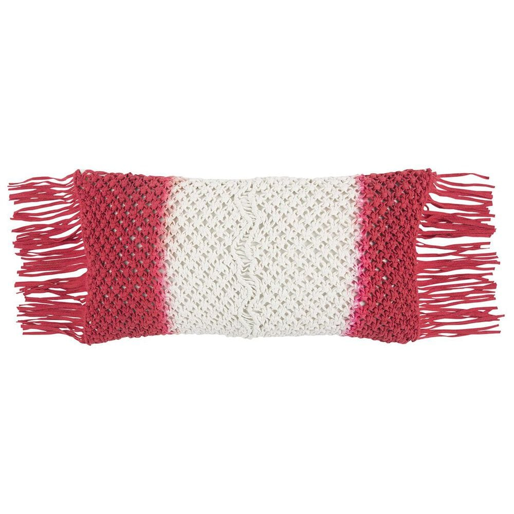 """Rizzy Home 11"""" x 21"""" Down Pillow in Red, , large"""