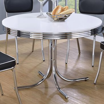 Pacific Landing Retro Round Dining Table in Glossy White and Chrome, , large