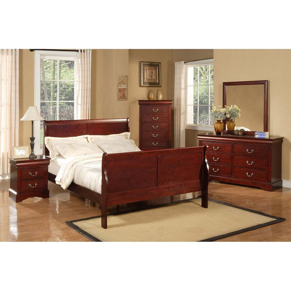 Alpine Furniture Louis Philippe II Queen Sleigh Bed in Cherry, , large