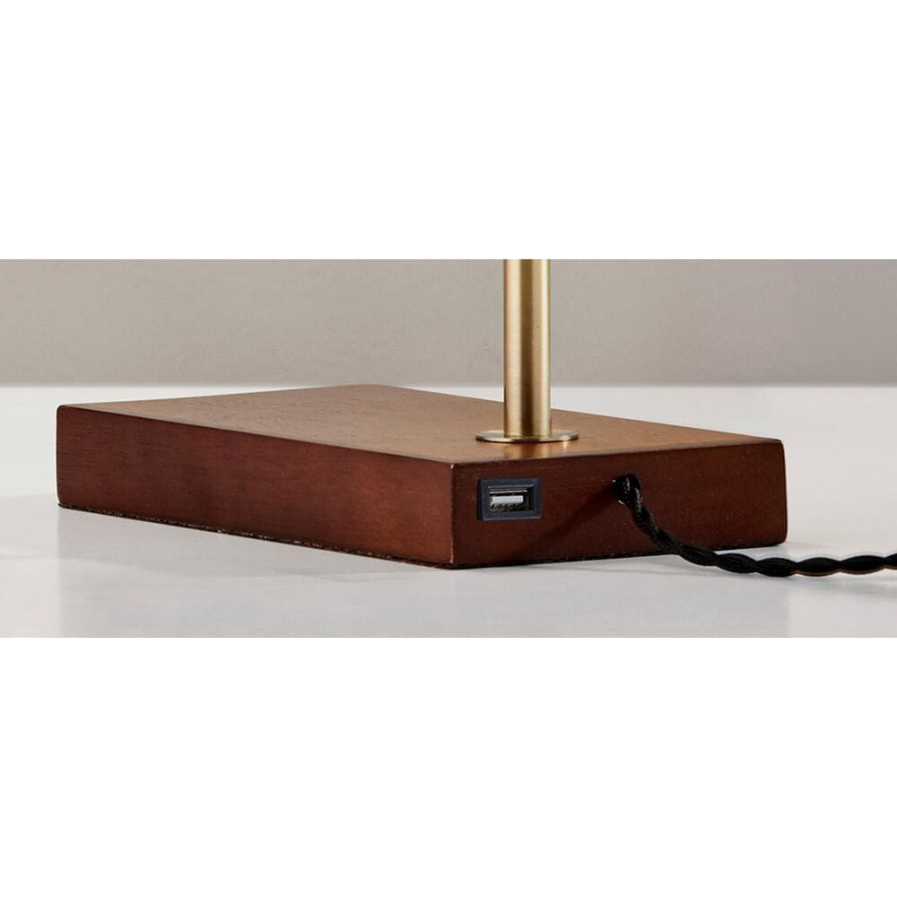 Adesso Barrett LED Desk Lamp in Walnut and Antique Brass, , large