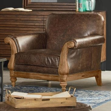 Magnolia Home French Inspired Webster Avenue Leather Chair in Cocoa, , large