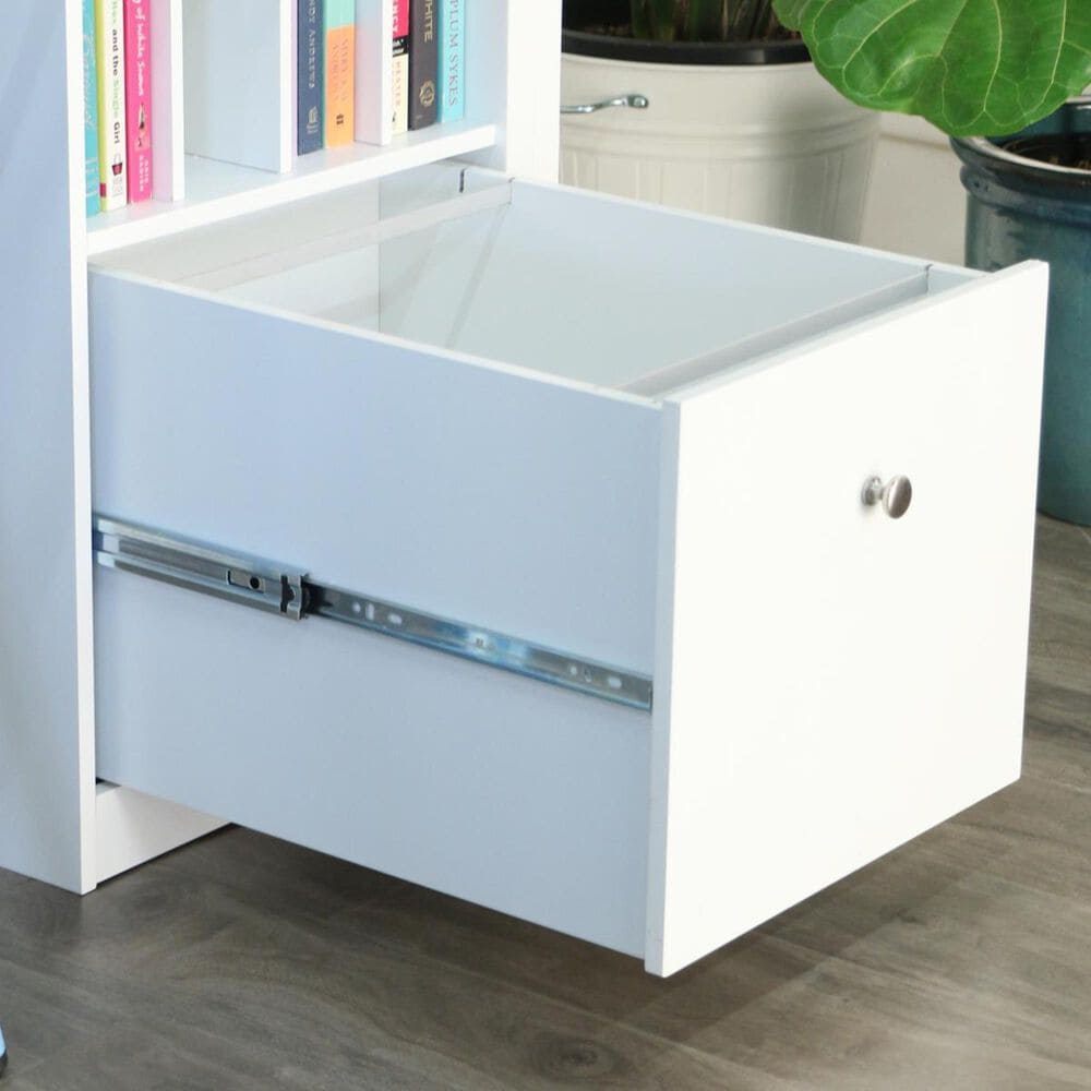 Walker Edison Deluxe Solid Wood Desk with File Drawer in White, , large