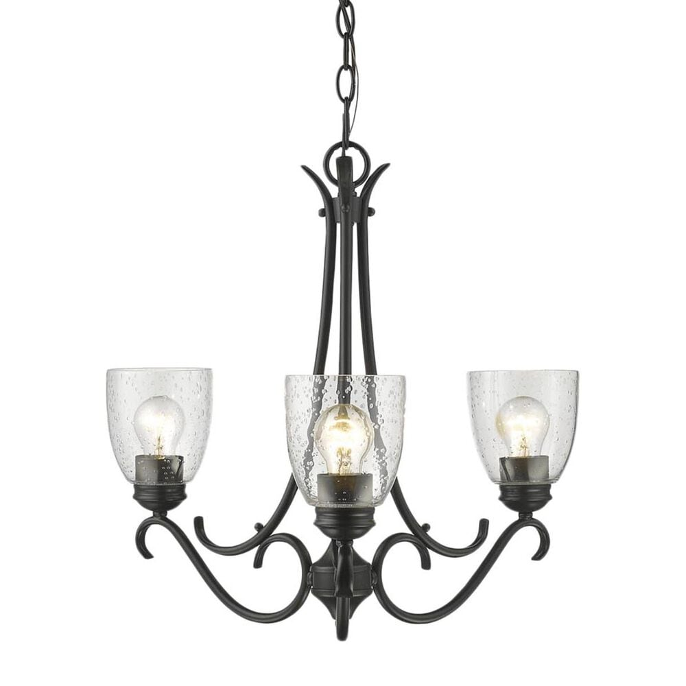 Golden Lighting Parrish 3-Light Chandelier in Black with Seeded Glass, , large