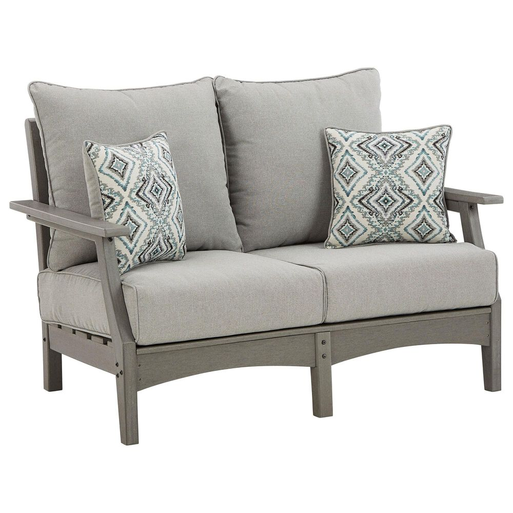 Signature Design by Ashley Visola Stationary Loveseat with Cushion in Gray, , large