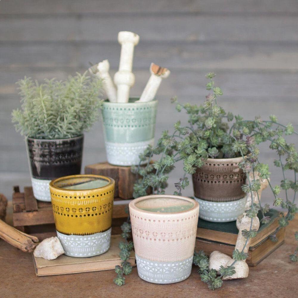 Kalalou Multicolor Ceramic Pots (Set of 5), , large