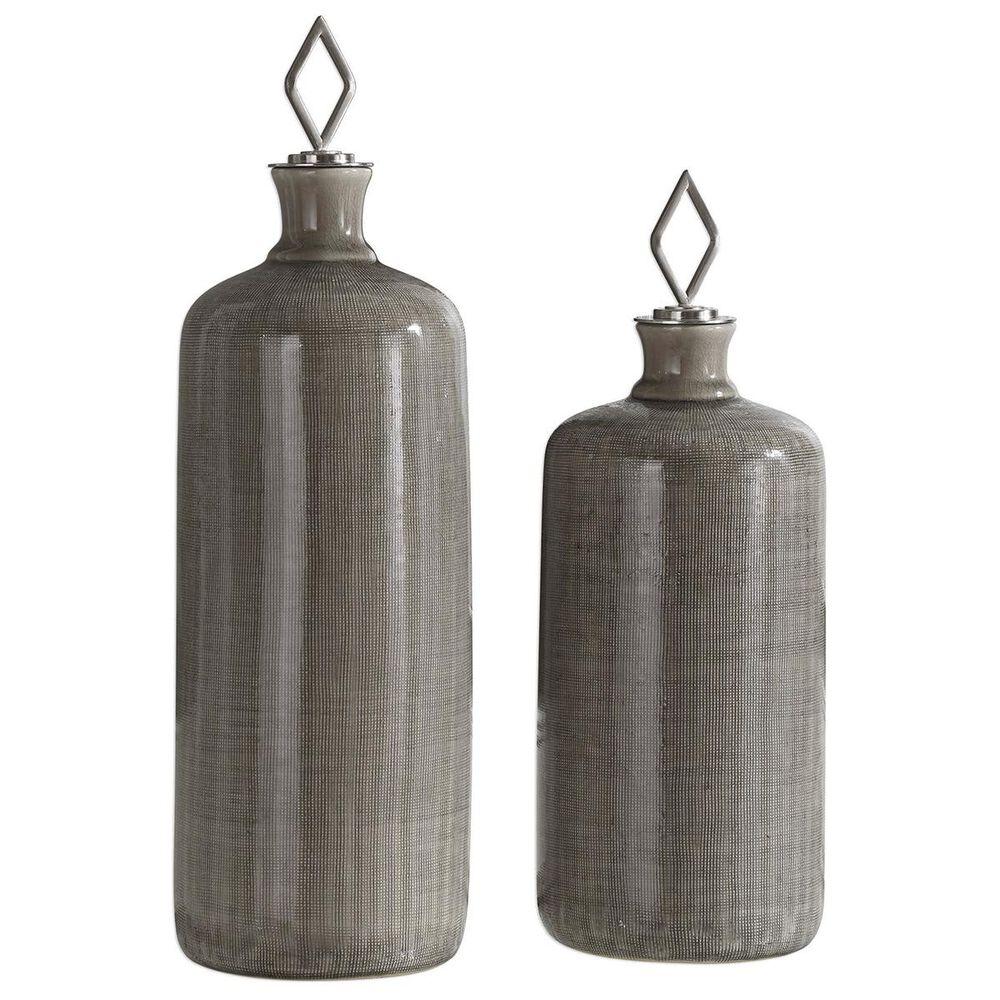 Uttermost Dhara Taupe Glaze Bottles (Set of 2), , large