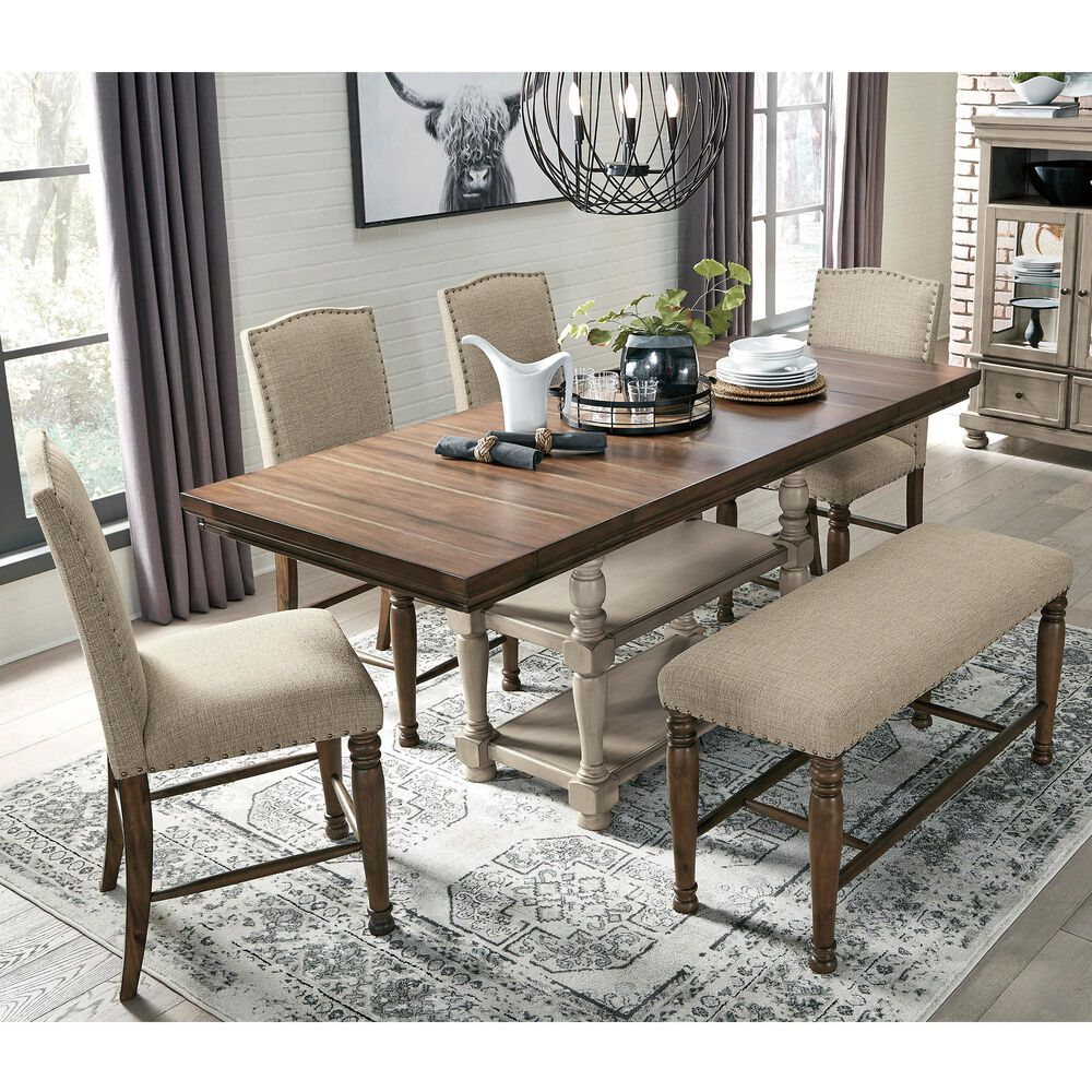 Signature Design by Ashley Lettner 6-Piece Counter Height Dining Set in Gray and Brown, , large