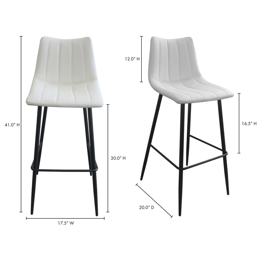 Moe's Home Collection Alibi Barstool in White (Set of 2), , large