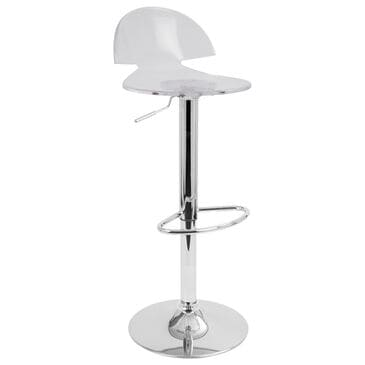 Lumisource Venti Adjustable Swivel Barstool in Clear/Chrome, , large