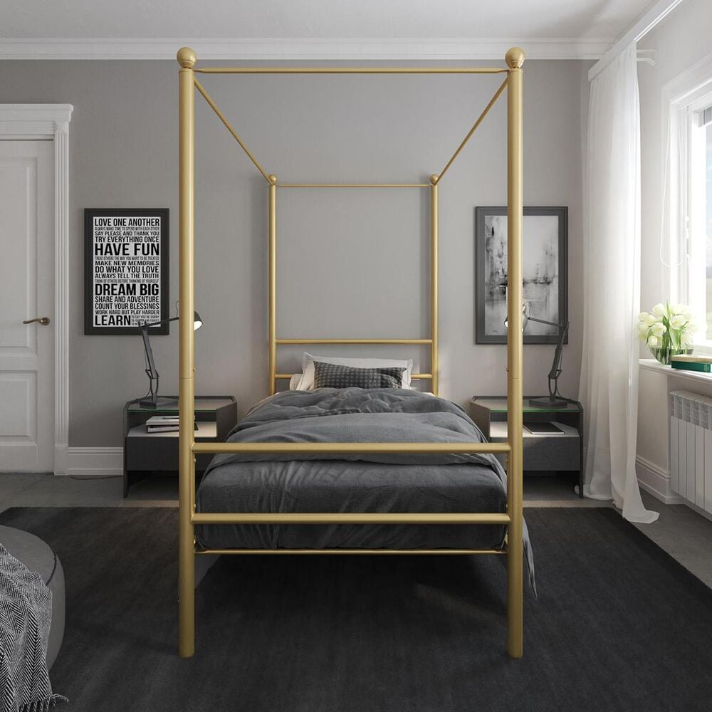 DHP Kora Twin Canopy Bed in Gold, , large