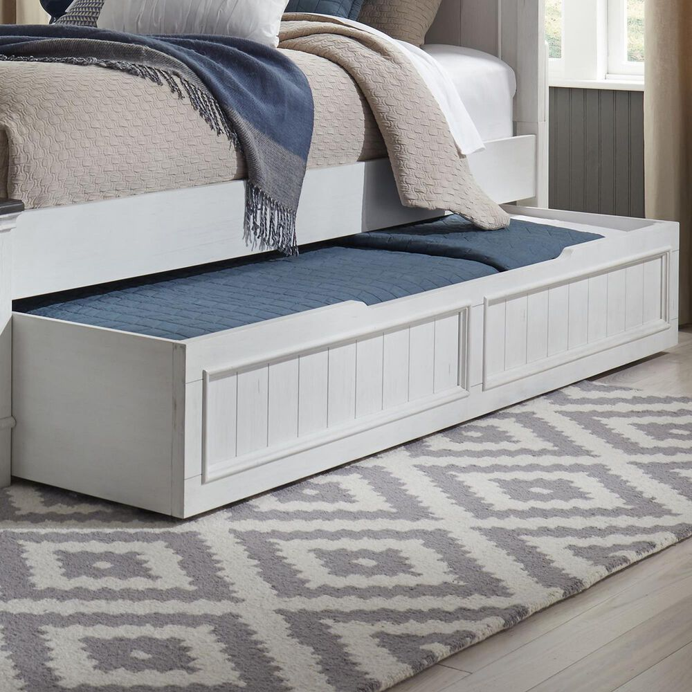 Belle Furnishings Allyson Park 4 Piece Full Bedroom Set with Trundle in Wire Brushed White and Charcoal, , large