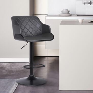 Blue River Toby Adjustable Height Bar Stool in Grey Faux Leather and Black, , large