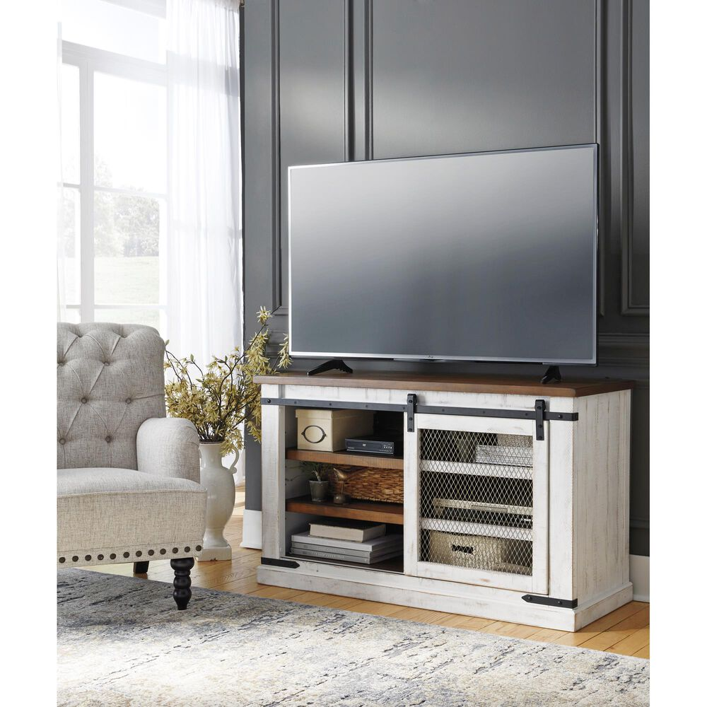 """Signature Design by Ashley Wystfield 50"""" TV Stand in Distressed White and Brown, , large"""