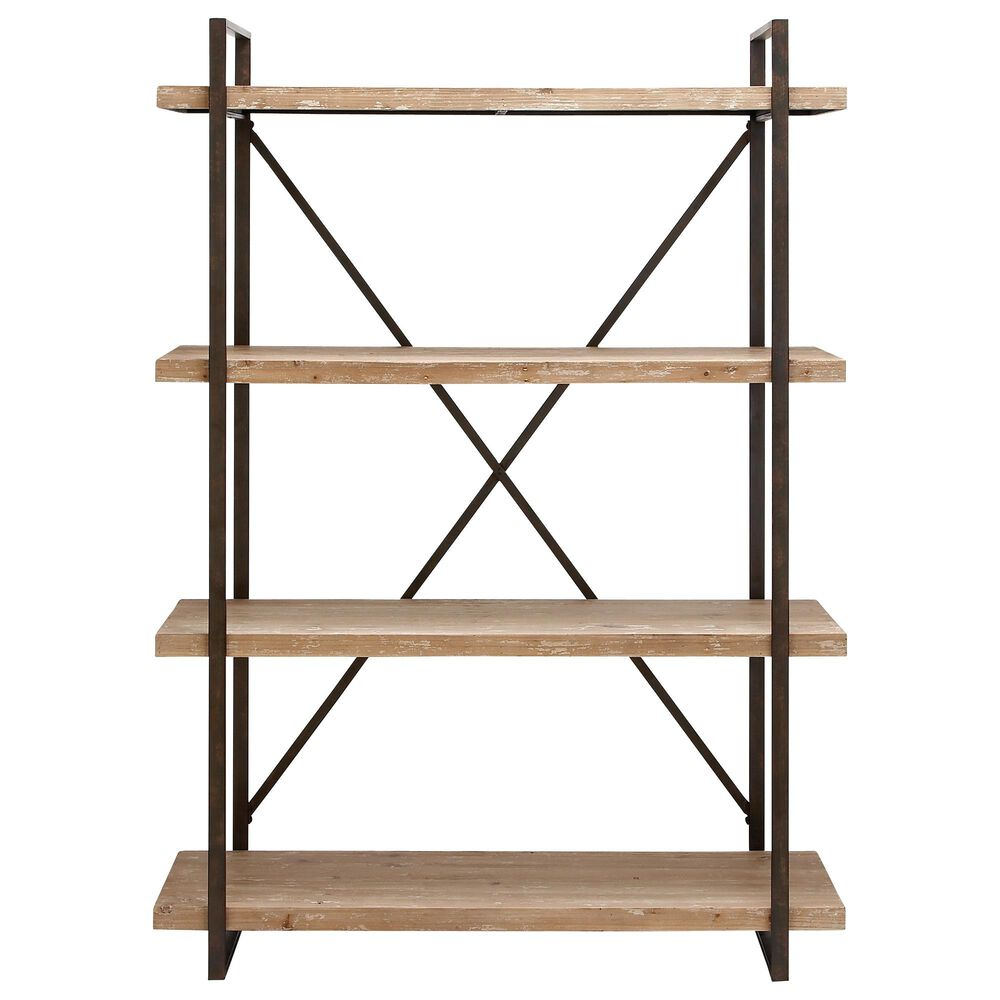 """Maple and Jade 67"""" Industrial Wood Shelving Unit Brown, , large"""
