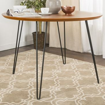 """Walker Edison 46"""" Round Hairpin Dining Table in Walnut - Table Only, , large"""