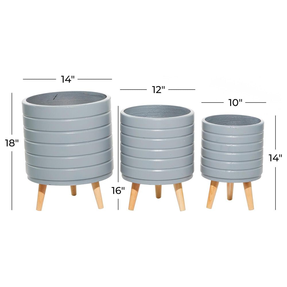 Maple and Jade Maple and Jade Contemporary Wood Planter Grey Set of 3, , large
